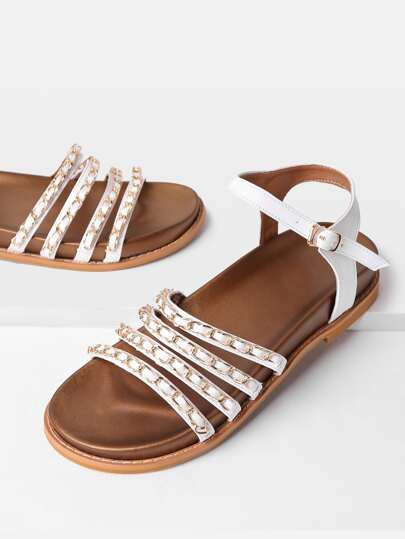 Chain Decorated Strappy PU Sandals