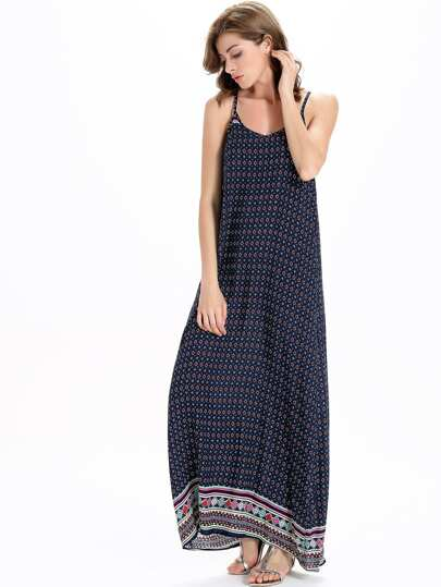 Tribal Print Full Length Slip Dress