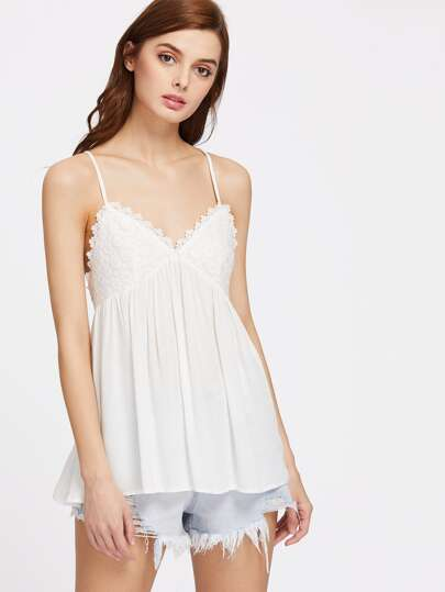 Floral Lace Overlay Crisscross Back Babydoll Cami Top