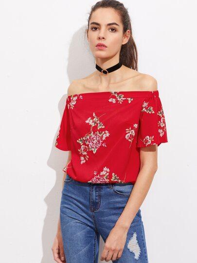 Bluse mit Blumen und Chiffon