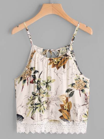 Camisole mit Blumenmuster und Band hinten