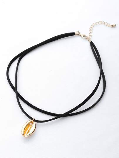 Shell Pendant Double Layer Necklace