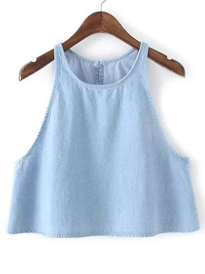Split Back Denim Tank Top