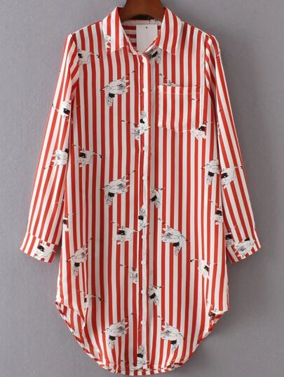 Contrast Striped Shirt Dress With Pocket