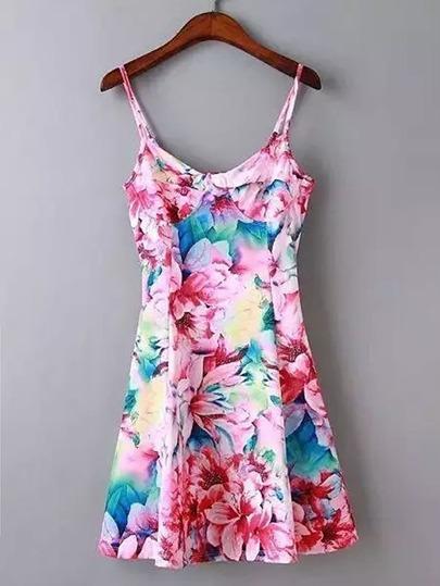 Cami Straps Floral A Line Dress
