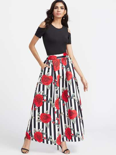 Open Shoulder Tee With Striped Rose Print Maxi Skirt
