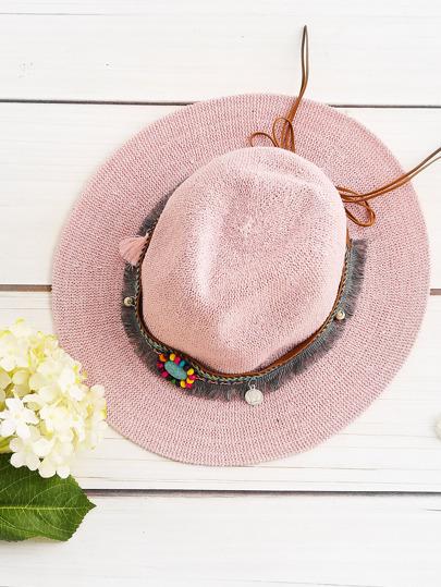 Boho Fringe Chapeau de paille avec bande tissée