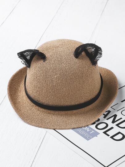 Kontrast Spitze Katze Ohr Fedora Hut
