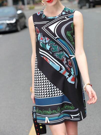 Kleid mit Rund-Ausschnitt und Muster - mehrfarbe