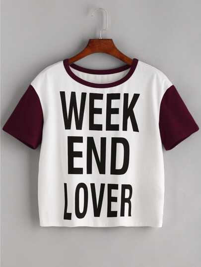 Slogan Print Contrast Short Sleeve T-shirt