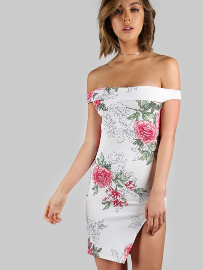 Bardot Floral Print Mini Dress IVORY