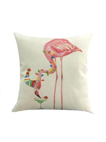 Contrast Flamingo Print Pillowcase Cover