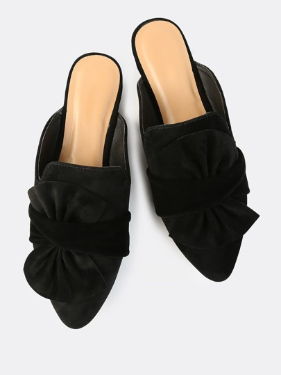 Faux Suede Point Slip On Flats BLACK
