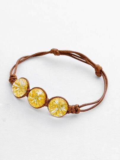 Bracelet avec perles de fleurs