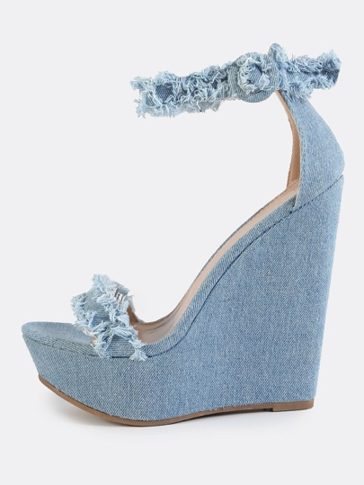 Distressed Denim Wedges BLUE DENIM