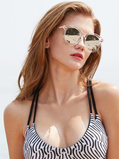 Gafas de sol con marco transparente con lentes de espejo