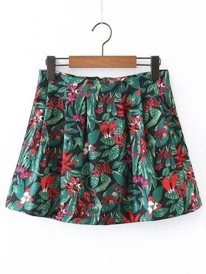 Falda línea A con estampado floral de espalda con cremallera