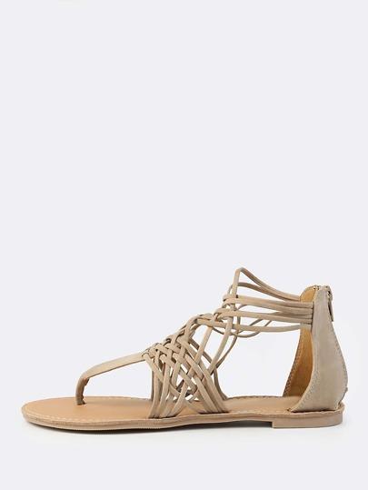 Weaved Gladiator Sandals STONE