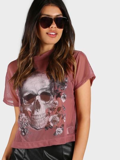 Sheer Skull Floral Print Shirt MAUVE
