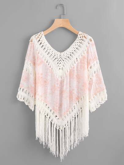 Floral Print Crochet Fringe Trim Cover Up