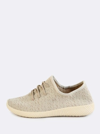 Stretchy Knit Lace Up Sneakers NATURAL