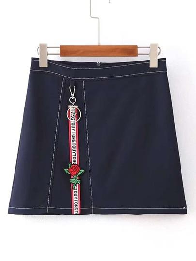Zipper Back A Line Denim Skirt With Keychain Detail