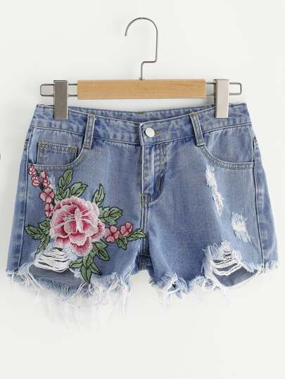 Shorts con bordado de flor con rotura en denim