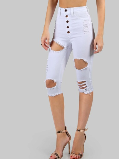 High Waist Destroyed Bermudas WHITE