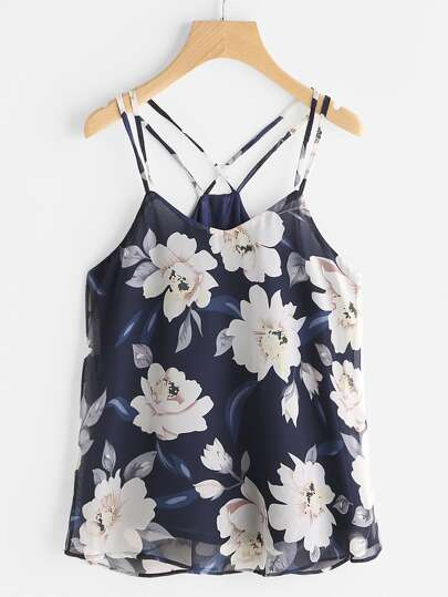 Floral Print Criss Cross Back Cami Top