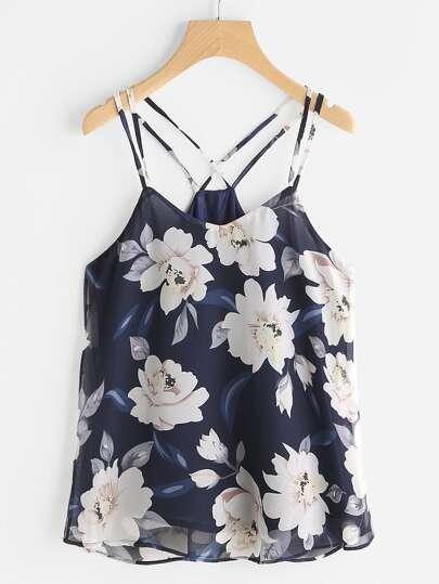 Veste floral à bretelle en tulle