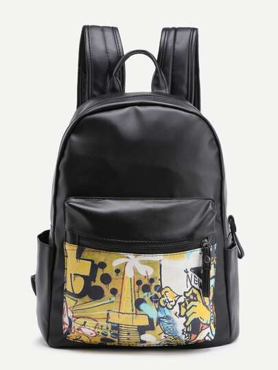 Graffiti Print PU Backpack With Pocket
