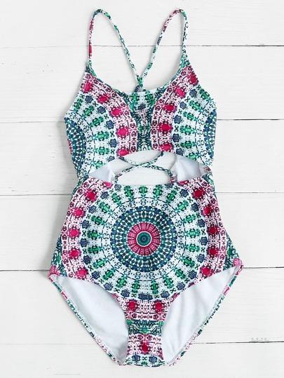 Mixed Print Cutout Cross Back Swimsuit