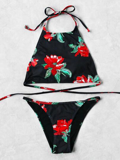 Set bikini de cuello halter con estampado de flor