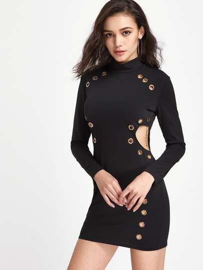 Cutout Side Grommet Detail Dress