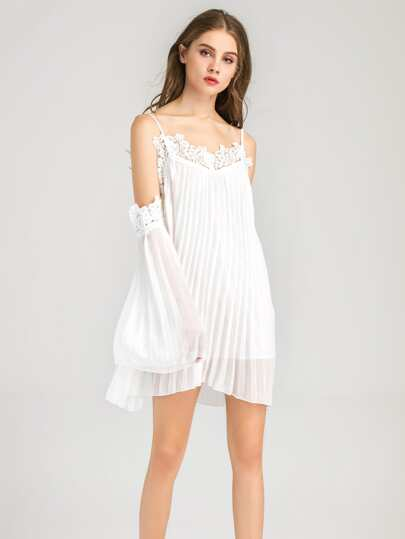 Lace Trim Pleated Chiffon Slip Dress