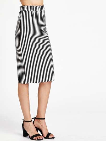 Falda media ajustada de rayas verticales