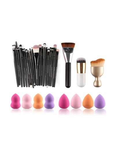 Professional Makeup Brush Set With Puff