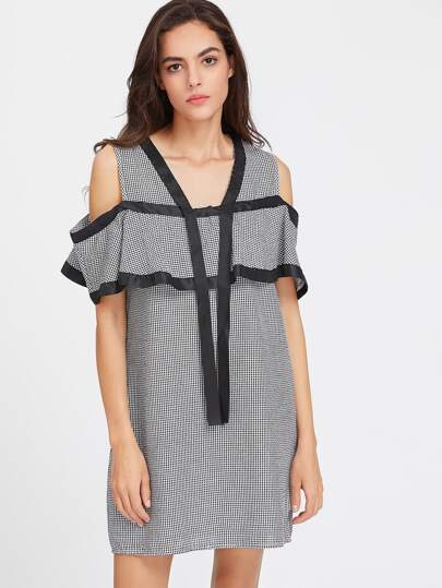 Satin Trim Cold Shoulder Flounce Checkered Dress