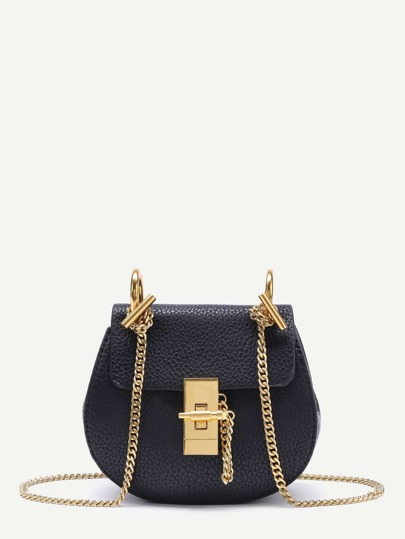 PU Crossbody Saddle Bag With Chain