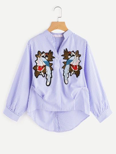 Blusa con bordado de rayas verticales