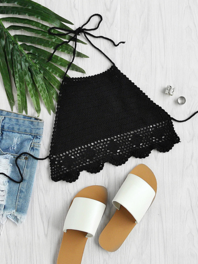 Scallop Hem Hollow Out Crochet Halter Bralette