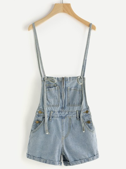 Zipper Front Adjustable Strap Bleached Denim Overall Shorts