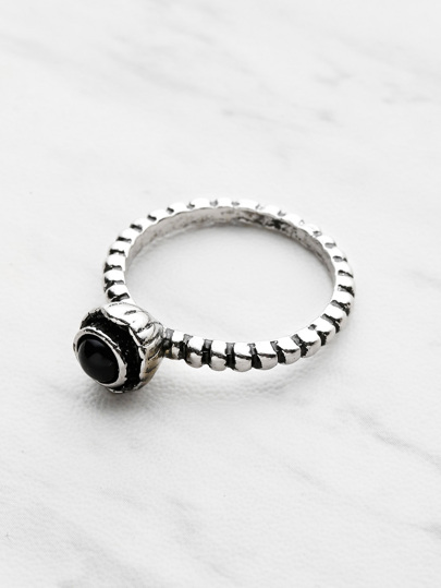 Contrast Gemstone Textured Ring