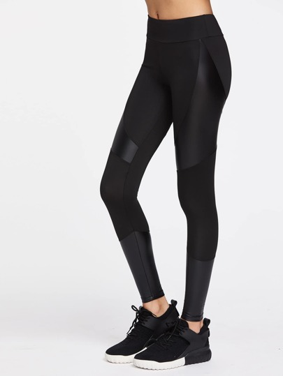 leggings con contrasto PU cut e sew sports