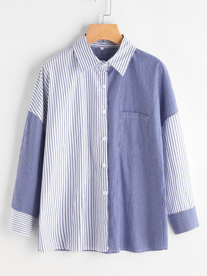 Color Block Vertical Pinstripe Shirt With Chest Pocket