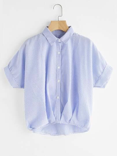 Pinstripe Button Front Dip Hem Shirt