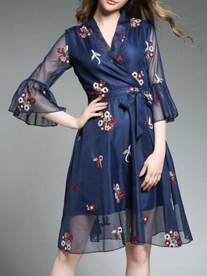 V Neck Bell Sleeve Sheer Embroidered Dress
