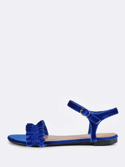Frilly Ankle Strap Sandals BLUE
