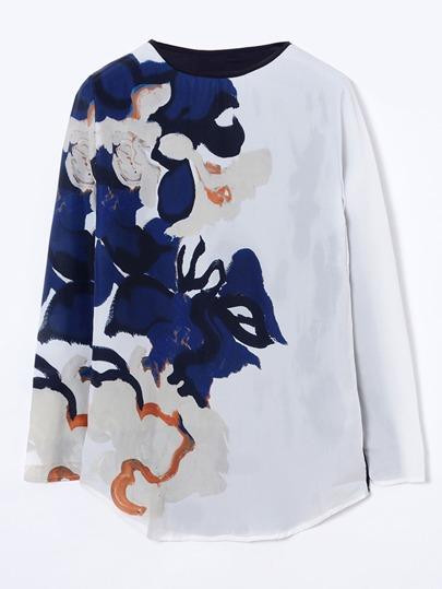 T-shirt con maniche lunghe ,con stampa di fiore