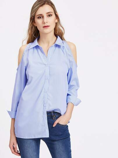 Open Shoulder Vertical Pinstripe Top